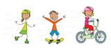 Fototapety 3 enfants roller skate vélo