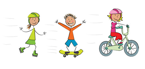 3 enfants roller skate vélo