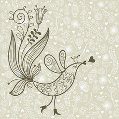 elegant floral illustration with bird