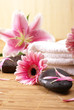 Spa composition of flowers and stones