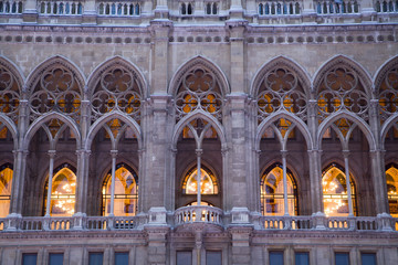 Vienna- detail from town-hall facade in morning