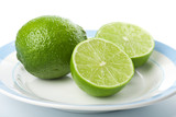 limes on plate isolated