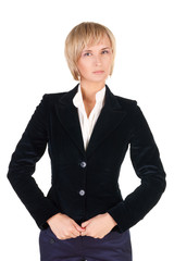 resolute blond woman in suit.