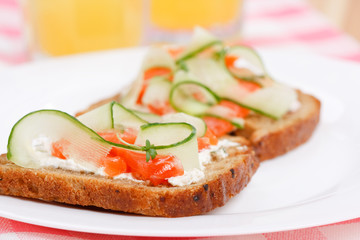 Toasts  with vegetables and fish