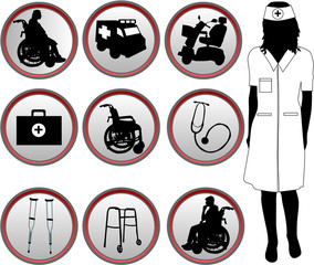 Medical Icons - silhouette of nurse
