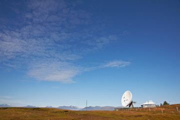 Satellite communications dish near Hofn, Iceland