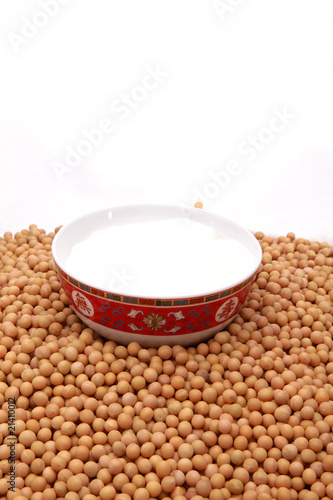 A glass of soybeans on the white background