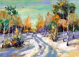 Fototapety Winter road to wood