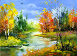 Fototapety Autumn landscape with the wood river