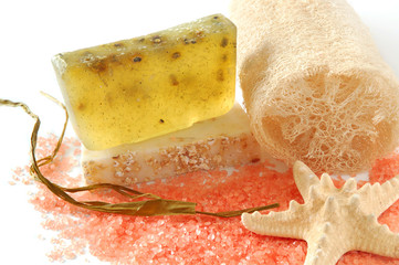 Natural soap and loofah