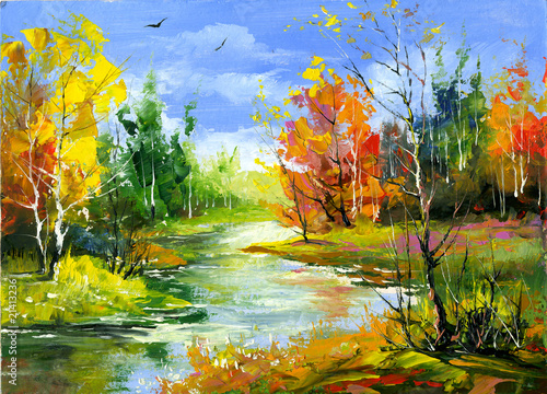 Jesień krajobraz z drewnianą rzeką