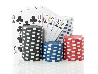 colorful gambling cards and chips for casino games isolated over