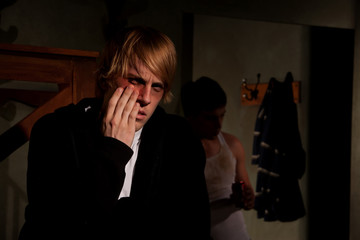 Frightened young man