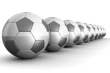Footballs in a row teamwork concept