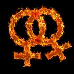 Burning lesbian symbol