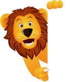 A cute lion with white sign - 21424692