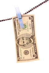 Dollar over white background