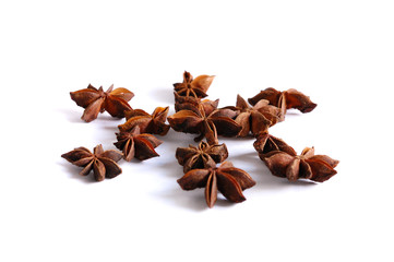 Star anise against white background..