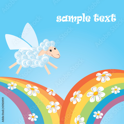 card with flying lamb and rainbow