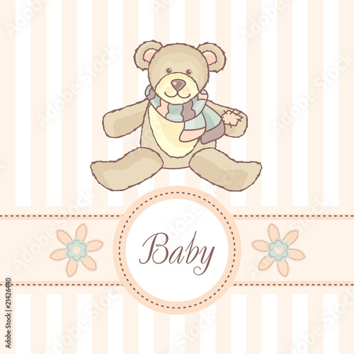 baby card with teddy bear