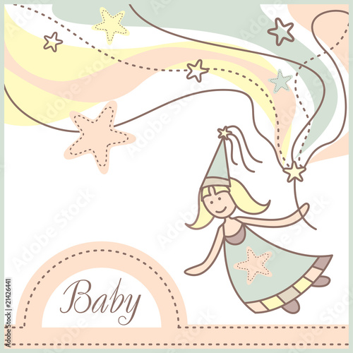 baby card with lovely fairy