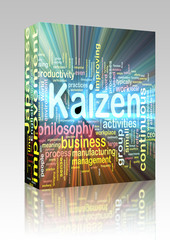 Kaizen word cloud glowing box package