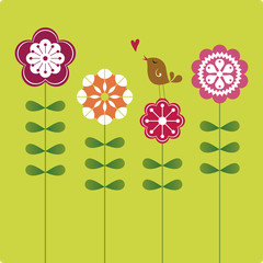 vector bird and flower background design