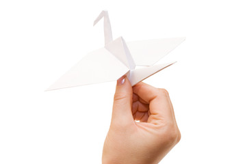 Origami crane in hand isolated on white background