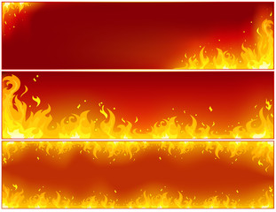 Fire banners on a red background