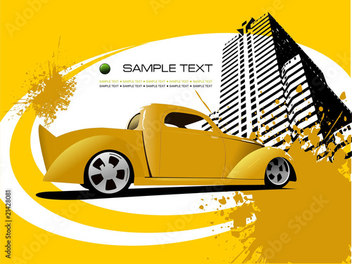 Yellow business background with car image. Vector illustration