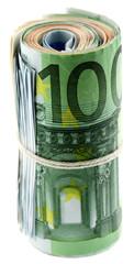 billets 100 euros enroulés, fond blanc
