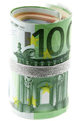 billets 100 euros attachés, fond blanc
