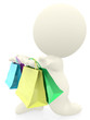 Romantic 3D man with shopping bags