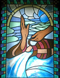 Baptism, stained glass