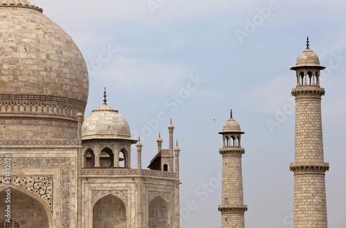 close-up of the Taj Mahal Mausoleum in Agra, India.