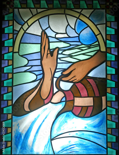 Baptism, stained glass - 21432089