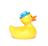 Orange toy duck isolated