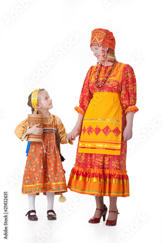 Woman And Little Girl In Russian Traditional Clothing