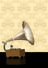 Vintage illustration of a gramophone