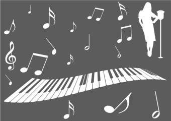 Illustration of a piano, music notes and girl singing