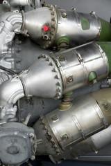 closeup of jet engine combustion parts