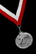 Silver medal with red and white ribbon