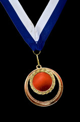 Gold and red medal