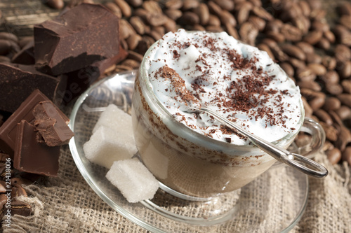 cafe cappuccino with chocolate