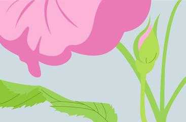 Vector pink flower on blue background