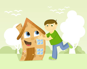 Happy man hugs his house. Vector illustration.