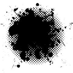 halftone grunge ink splat black
