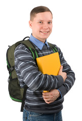 young male student carries backpack