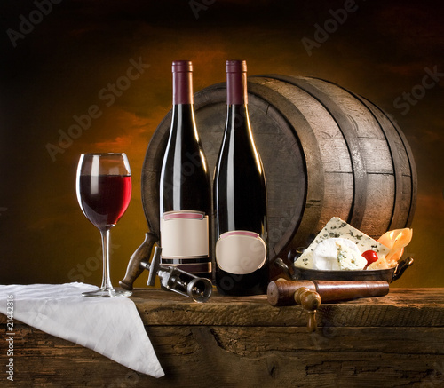 the still life with red wine