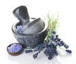 Lavender and Stone Mortar